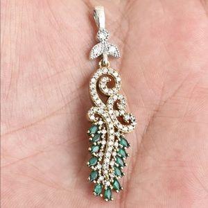 🆕 Sultan Emerald & Topaz Pendant Silver Bronze
